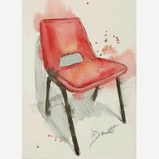 Red Chair - Ink Pen & Wash