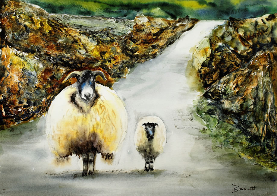 Sheep in the Lane - Click Image to Close