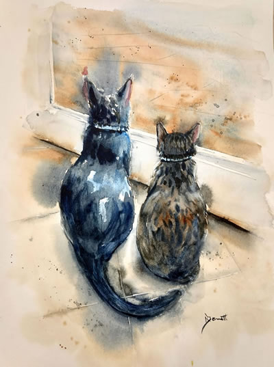Leisure Painter, painting a pair of cats